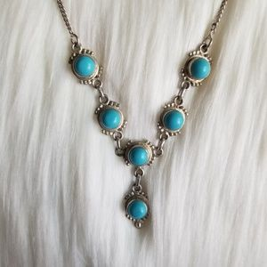 Vintage Turquoise Sterling Silver Necklace Taxco